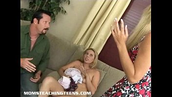 thick-chested cougar catches teenie and hubby redhanded and joins