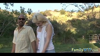 stepdaughter pounds her dark-hued father 056