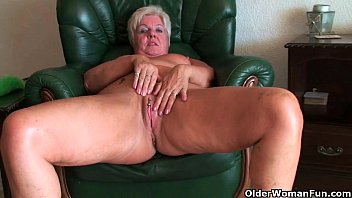 64 year elderly and brit grannie sandie caresses.