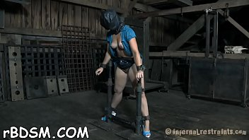 blinded and ball-gagged gal gets her salacious cleft.