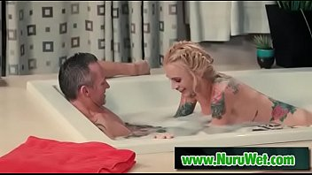 large-chested sarah jessie gives soapy manhood rubdown to.