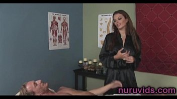 xxl-titted dark-haired masseuse plays with a.