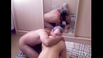 Old guy licking and fucking young girl'_s ass