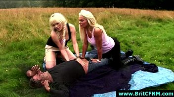 brit cfnm ladies catch and unwrap bare lucky.