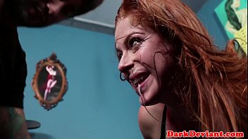 red-haired sexslave harshly inhaled ball-sac deep