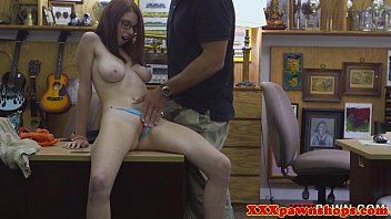 buxom teenager pawnshop very first-timer fingerblasted
