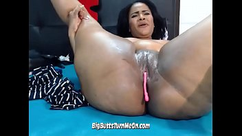 xxl-titted black latina stunner demonstrating off her magic wand