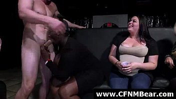 muscular stripper gets fellatios from amateurs at cfnm soiree