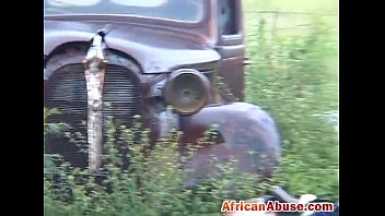 enchained african honey gets manhandled by two nasty.