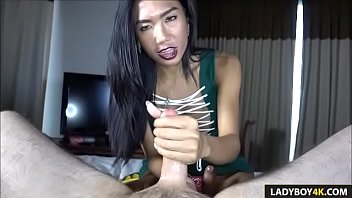 tranny gives lucky man messy oral