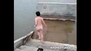 russian inexperienced damsel bathing nude in.