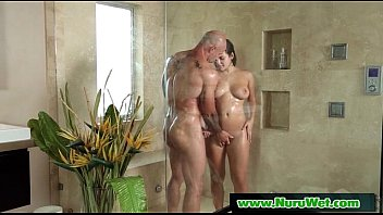 slimy nuru chinese rubdown and douche hand job 16