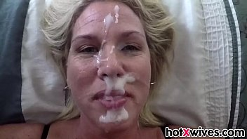 silver-blonde wifey gets facialized