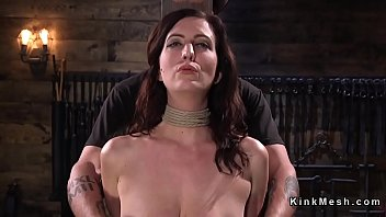 meaty-titted red-haired suffers frogtie suspension