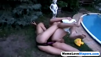 ash-blonde cougar pounding her boy right in the garden