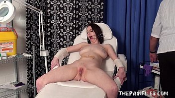emilys extreme needle and ball-gagged medical piercing vulva.