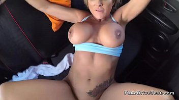 hefty boobs silver-blonde romps in driving.