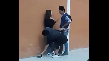 thresome teenie having orgy in front of public caught