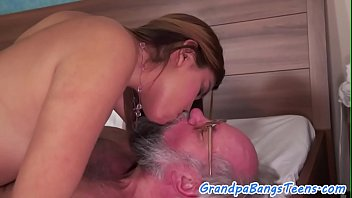 dickloving stunner gets pounded by grandfather