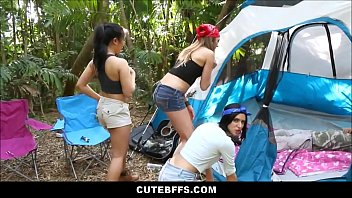 supah-steamy nubile camping chicks pummel lost.
