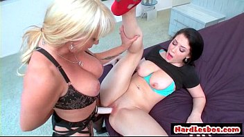 light-haired girl-girl screwing brown-haired with strapon faux-cock hd.