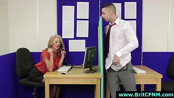 inexperienced fellow unclothes for cfnm brit stunners in office