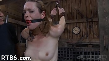 trussed up victim receives cock-wringing mask with stiff.