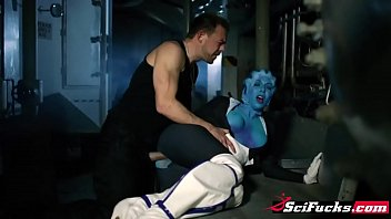 pummeling a blue extraterrestrial sweetheart in this pornography parody