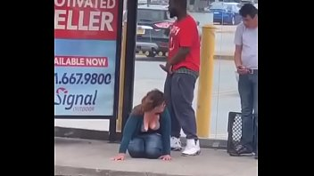 strangers ease at bus stop