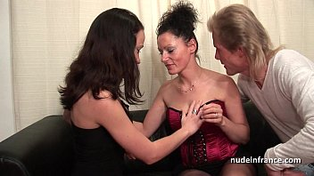 ffm unexperienced french duo training a youthfull brown-haired.