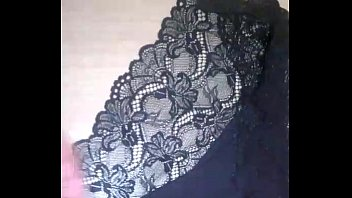 Cumming over wife'_s black lace panties