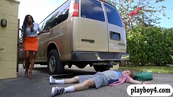 large udders black cougar ripped up in the van