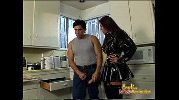 spandex-dressed raven-haired harlot drills her immensely crazy repairer.