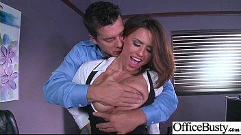 horny office woman eva angelina with xxl jug.